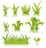 Folhas, grama e conjunto de gramado vetor