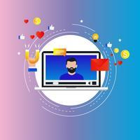 Influência de marketing de mídia social, conceito de mercado-alvo vetor