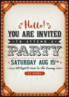 Cartão de convite de festa vintage vetor