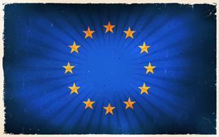 Vindima, europeu, bandeira união, cartaz, fundo vetor