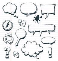 Setas, bolhas do discurso e conjunto de elementos Doodle vetor