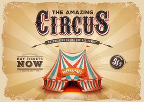 Poster de circo antigo vintage com textura Grunge