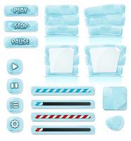 Gelo Dos Desenhos Animados E ícones De Vidro Para O Jogo De Ui