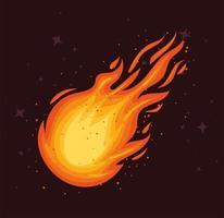 pôster de bola de fogo caindo vetor