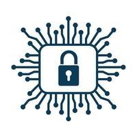 cadeado de segurança cibernética com circuito vetor