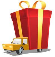 Presente de aniversário no caminhão de entrega vetor