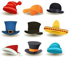 Caps, Top Hats e outros Head Wear Set vetor