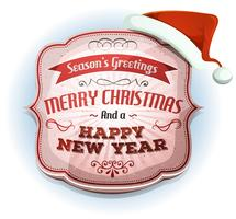 Feliz Natal e feliz ano novo emblema vetor