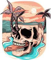 14. crânio de verão com fundo do sol no rio vetor