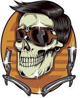 11. vetor de barbearia de caveira