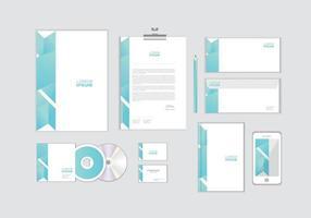 O modelo de identidade corporativa para o seu negócio inclui capa de CD, cartão de visita, pasta, envelope e designs de cabeçalho de papel nº 7 vetor