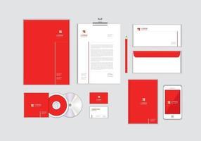 O modelo de identidade corporativa para o seu negócio inclui capa de CD, cartão de visita, pasta, envelope e designs de papel timbrado no. vetor