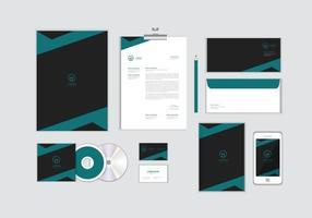 O modelo de identidade corporativa para o seu negócio inclui capa de CD, cartão de visita, pasta, envelope e designs de cabeçalho de papel no. 14 vetor