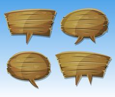Conjunto de bolhas de discurso de madeira em quadrinhos vetor
