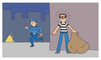 homem ladrão de desenho animado está escondido atrás do muro, a polícia está procurando por ele ilustração vetorial vetor