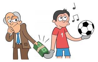 desenho animado se oferece para subornar o goleiro para marcar um gol. vetor