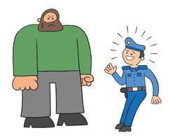 desenho animado policial com medo do grande homem ilustração vetorial vetor
