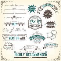doodles-banners-fitas e prêmios vetor