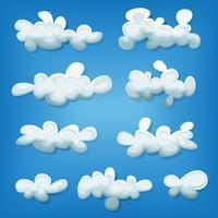 Conjunto de nuvens em quadrinhos