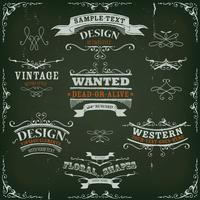 Mão desenhada Western Banners e fitas