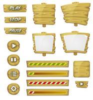 Elementos de madeira dos desenhos animados para o jogo de interface do usuário vetor