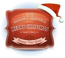 Feliz ano novo e distintivo de saudações da temporada vetor