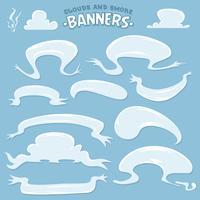 Nuvens de desenhos animados e bandeiras de fumaça