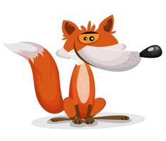 Caricatura, engraçado, raposa, personagem vetor
