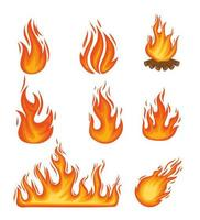 oito chamas de fogo vetor