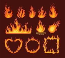 onze chamas de fogo vetor