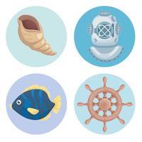 quatro ícones marinhos vetor