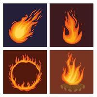 fogo quatro chamas vetor