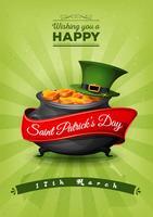Cartão retro do dia de St Patrick feliz Cartão Postal vetor