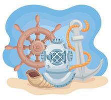 ícones marinhos vetor