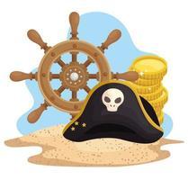 praia de ícones piratas vetor