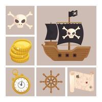ícones piratas do tesouro vetor