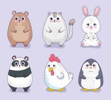 seis animais fofos vetor