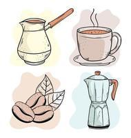 café quatro ícones vetor