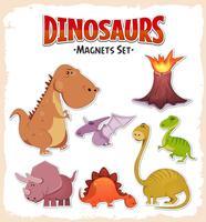 Ímãs de dinossauros e conjunto de adesivos vetor
