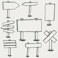 Sinais de madeira Doodle e setas de direção vetor