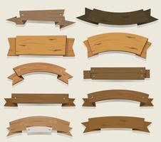 Banners de madeira de desenho animado e fitas vetor