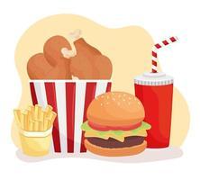 ícones de fast food e refrigerantes deliciosos vetor