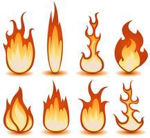 Conjunto de símbolos de fogo e chamas