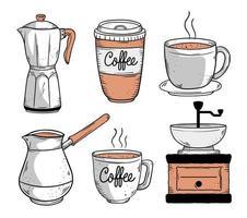 seis ícones de café vetor