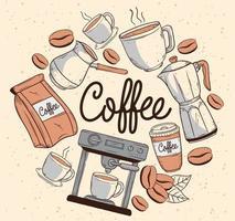 café sete ícones vetor