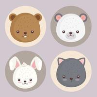 conjunto de quatro ícones de conjunto de cabeças de animais fofos vetor