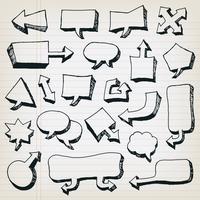 Doodle conjunto de bolhas do discurso dos desenhos animados vetor