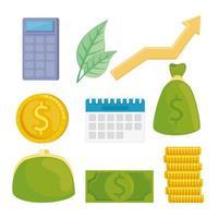pacote de ícones financeiros vetor