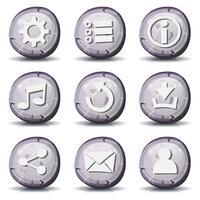 Ícones de pedra e rock para o jogo de interface do usuário