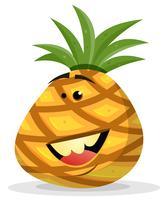 Personagem de abacaxi feliz dos desenhos animados vetor